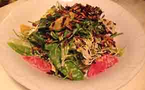 Baby Kale, Snow Pea and Winter Citrus Salad with Ginger Ranch Dressing and Puffed Rice