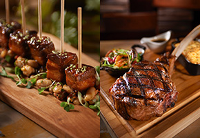 Pork Belly Lollipops and Tomahawk Steak at the Winery Restaurant and Wine Bar