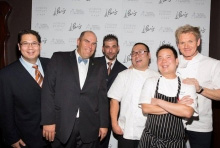 Jeffrey Frederick, VP of food and beverage, Caesars Entertainment; Jeff Eichelberger, Wine Sommelier, Gordon Ramsay Steak; JP Teresi, General Manager, Gordon Ramsay Steak; Steve Yi, Pastry Chef, Gordon Ramsay Steak; Kevin Hee, Executive Chef, Gordon Ramsay Steak; Chef Gordon Ramsay