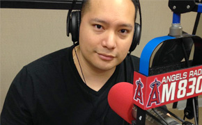 Andrew Monterrosa at the KLAA AM830 Studios in Anaheim