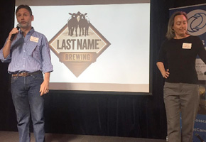 Andy Dale and Karen McMillen of Last Name Brewing at Innovate Pasadena