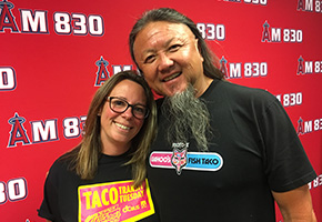 Jennifer Bergner of OC Transit and Wing Lam of Wahoos Fish Taco