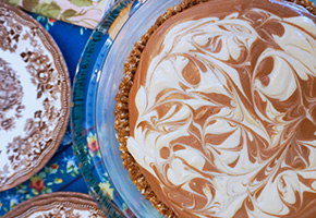 Mad Mocha Marbled Mousse Pie by Laura Theodore