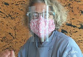 Susan Feniger wearing a mask at Socalo in Santa Monica