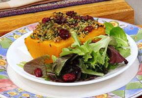 Butternut Squash Stuffed with Apples and Cranberries by Laura Theodore